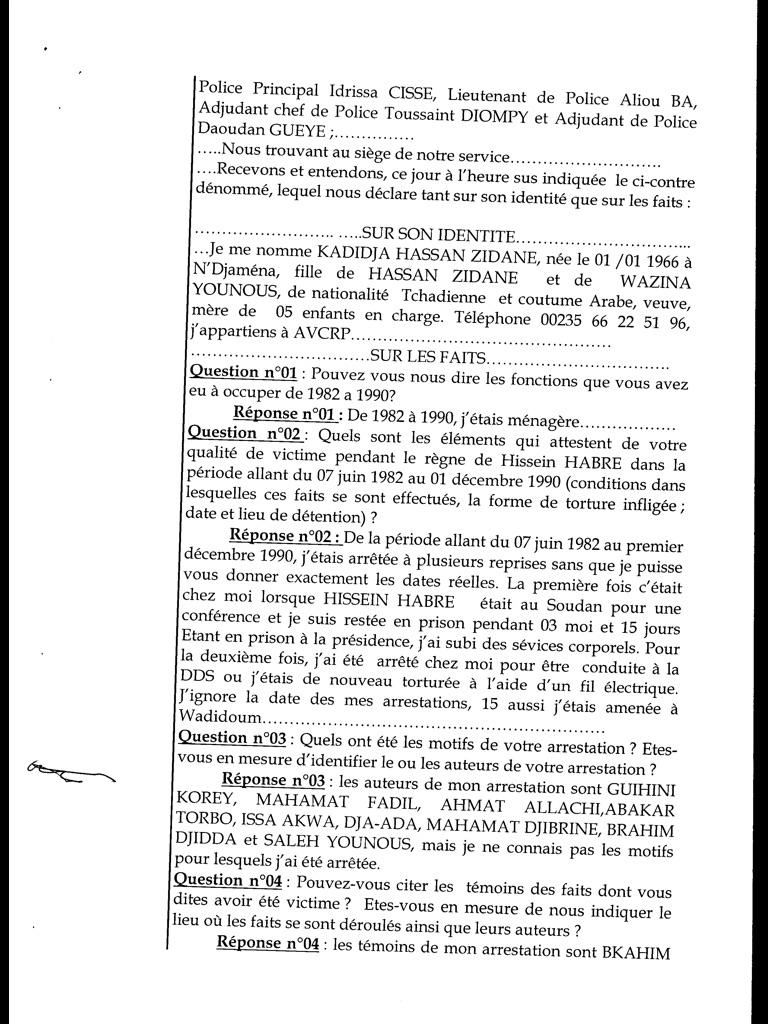 Procès Habré : Des accusations de viol qui ne figurent pas sur le Pv d'audition de Khadidja Hassan Zeydane (Documents)