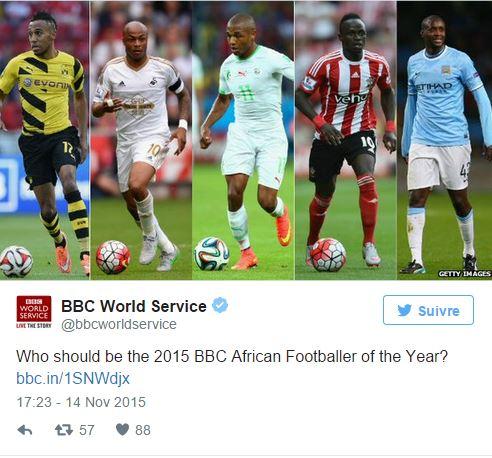 Joueur africain de l'année BBC : Sadio Mané parmi les cinq nominés