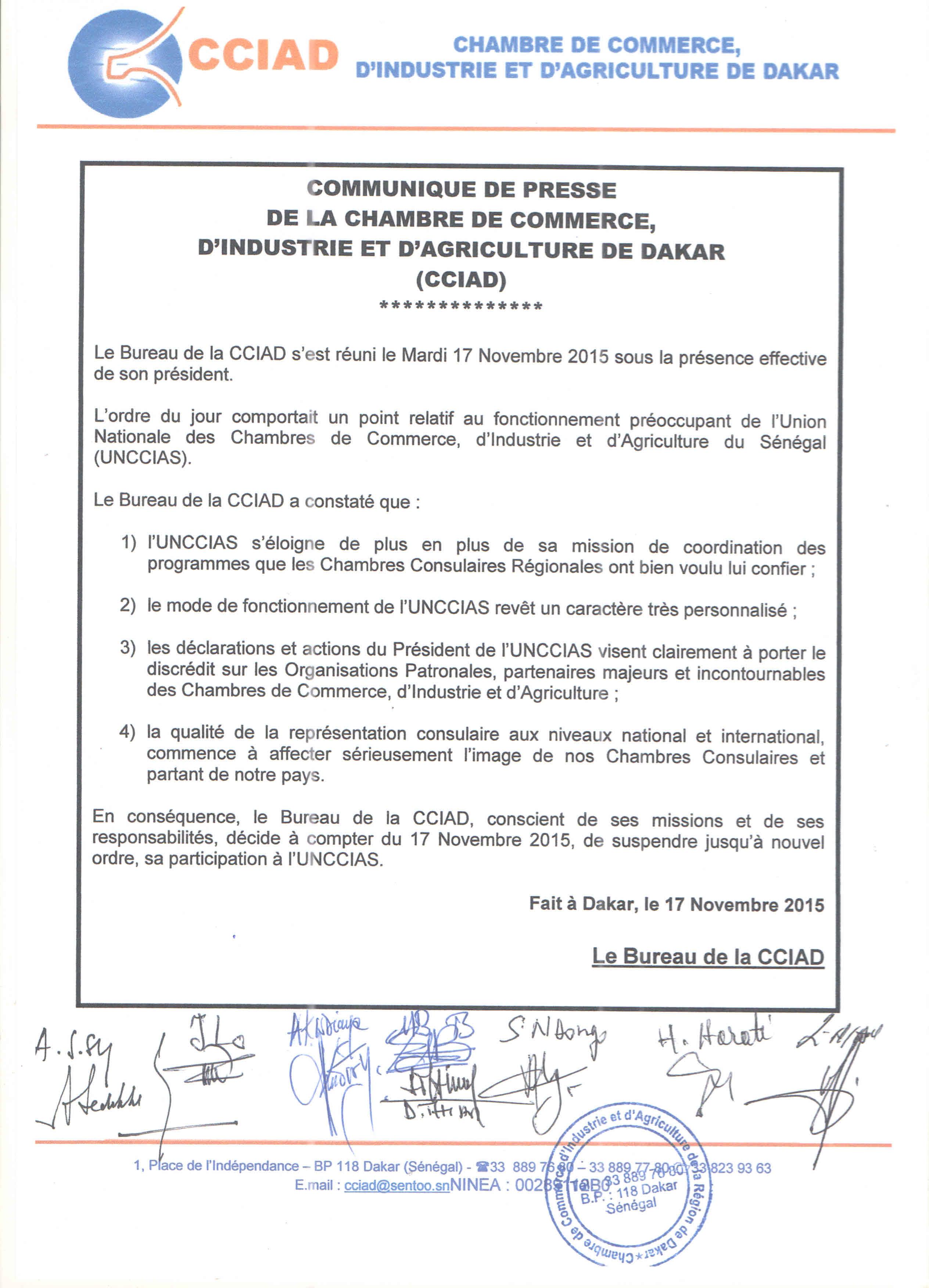 Pour comportement douteux : La CCIA de Dakar suspend ses activités dans l'Union Nationale des Chambres de Commerce
