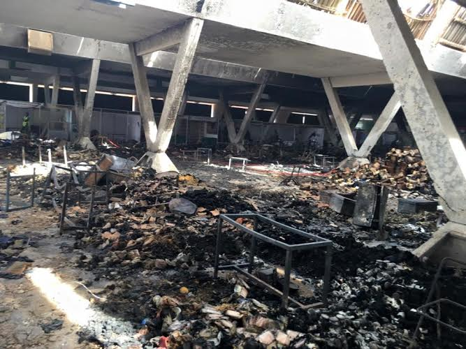 Les images des dégâts causés par l'incendie au pavillon vert du CICES