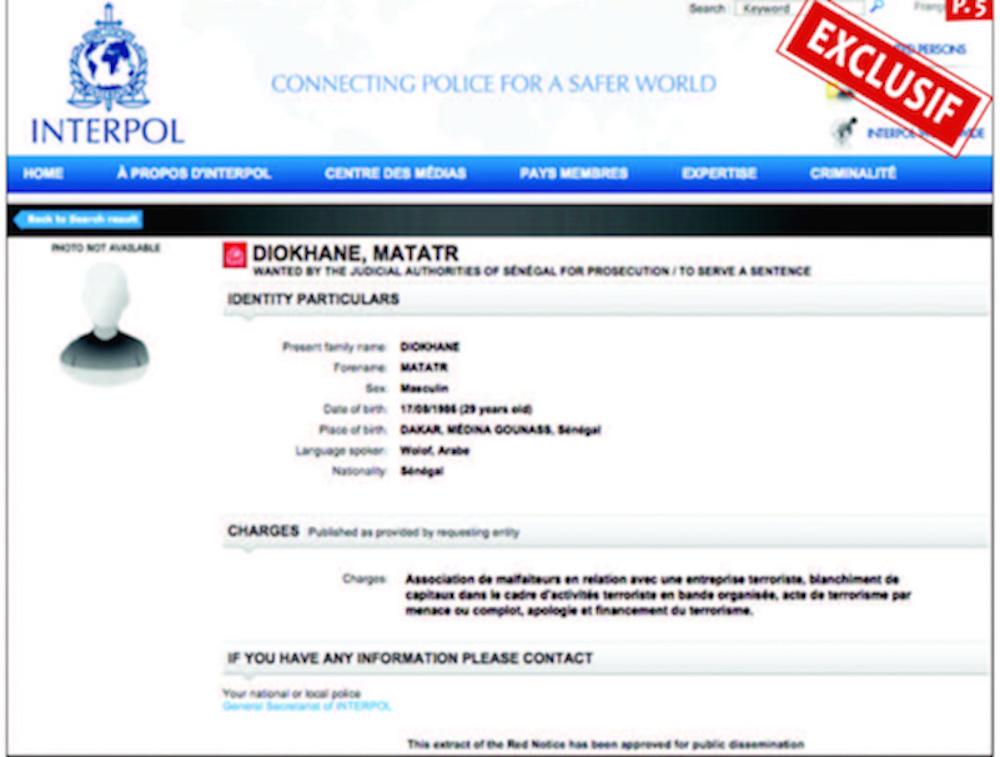 Actes de terrorisme, financement du terrorisme, complot, blanchiment de capitaux... Interpol émet une notice rouge contre Makhtar Diokhané
