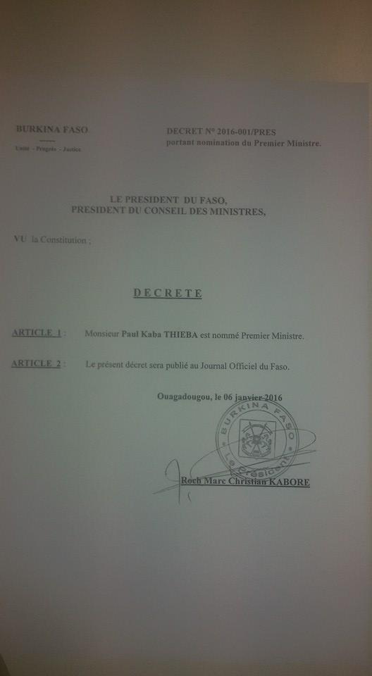 CV (curriculum vitae) de Paul Kaba Thieba, nouveau Premier ministre du Burkina Faso