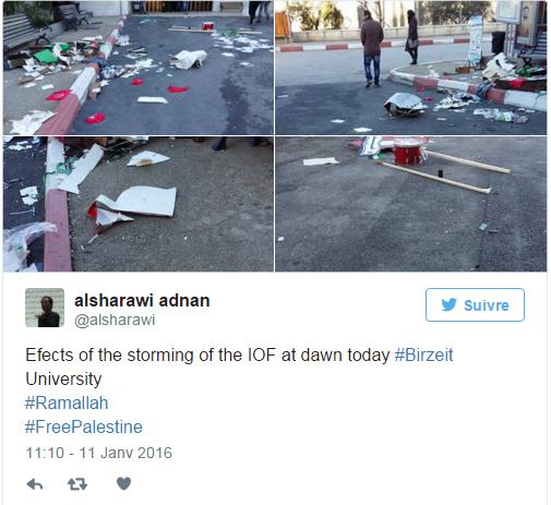 Raid de l'armée israélienne dans une université palestinienne
