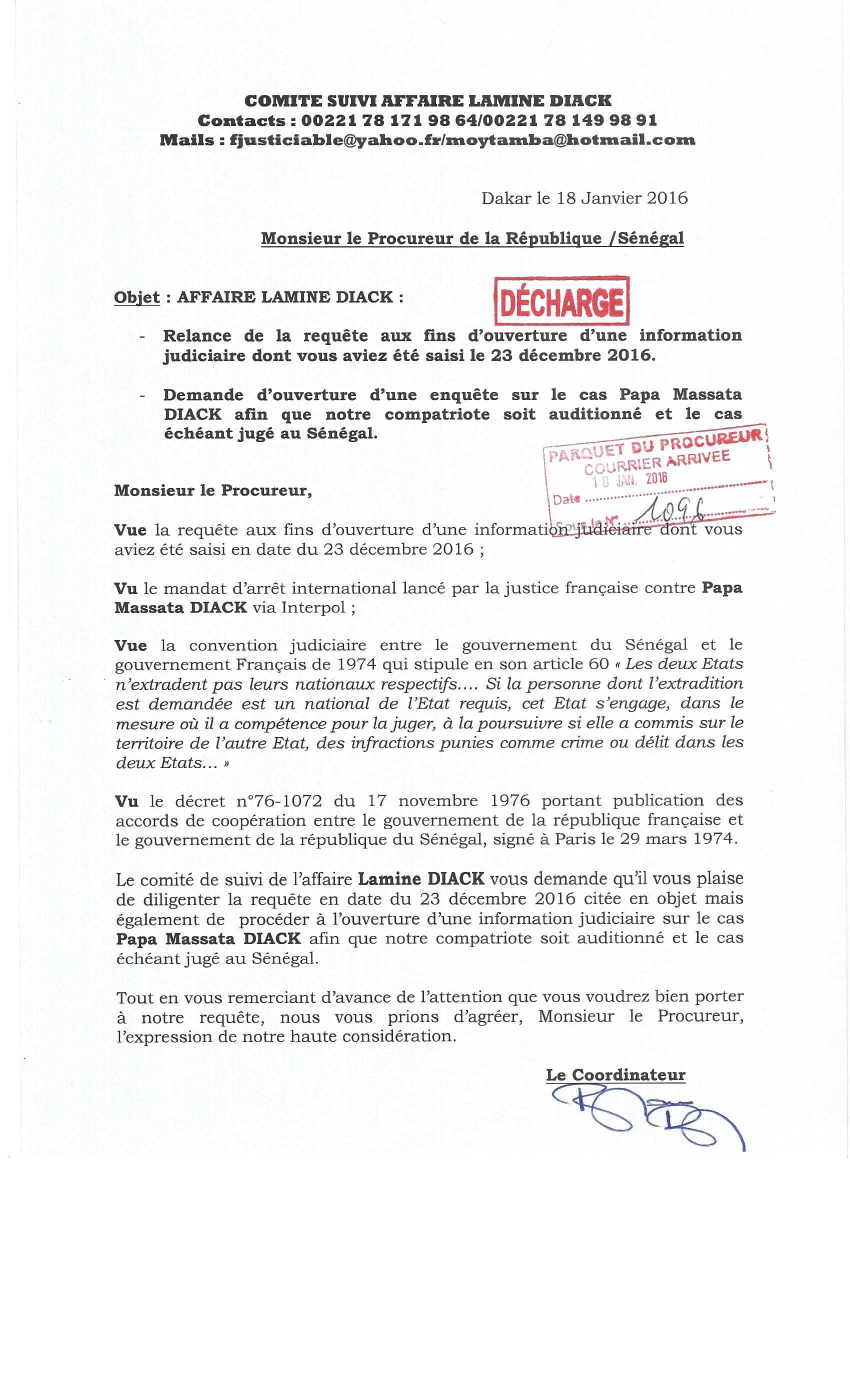 Affaire Lamine Diack : Le comité de suivi de l'affaire relance le Procureur pour l'ouverture d'une information judiciaire