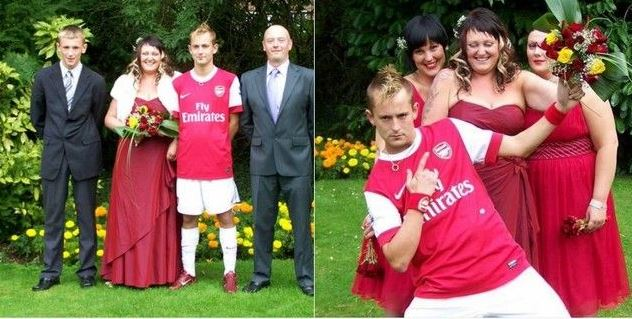PHOTO : Un fan se marie avec la tenue d'Arsenal