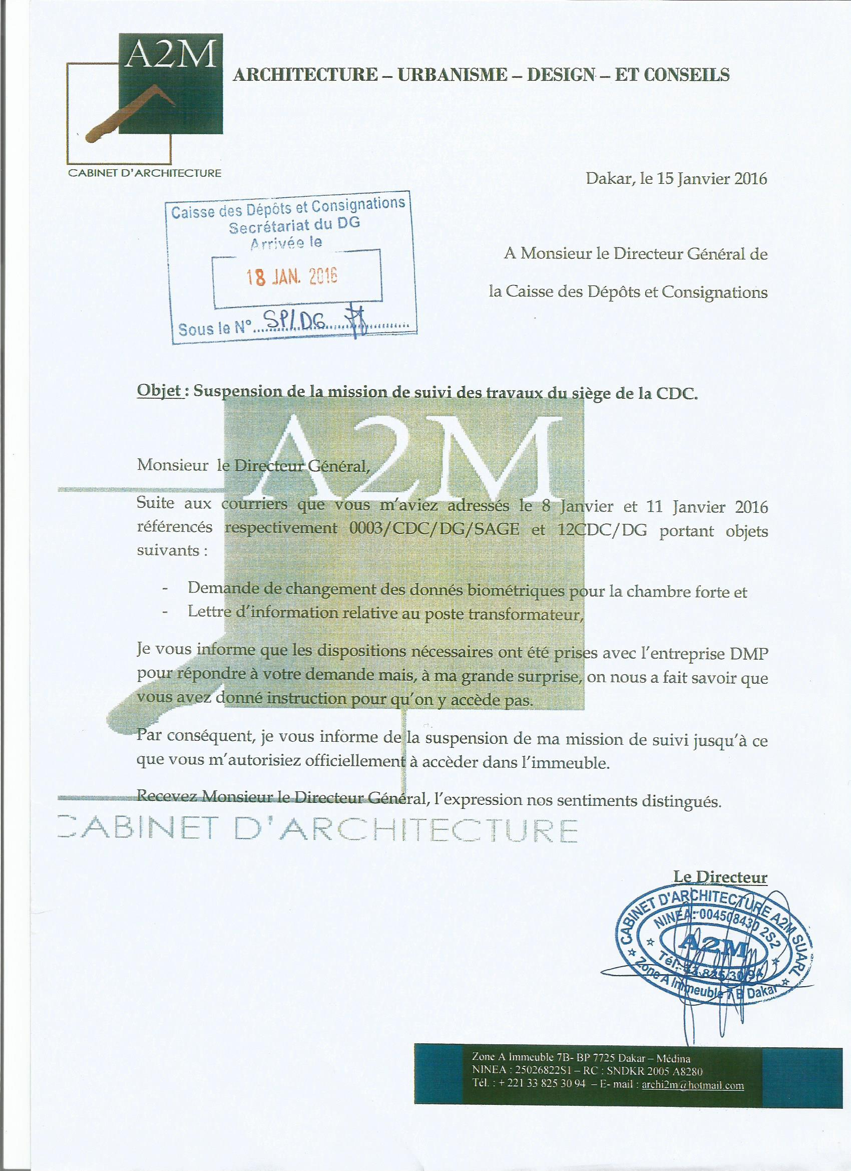 Érection du Siège de la Caisse des Dépôts et Consignations par DPM Constructions : Toute la vérité sur la brouille de 145 millions F Cfa entre le Dg Thierno Niane et le Dg Moustapha Ahmet Amar (Documents)