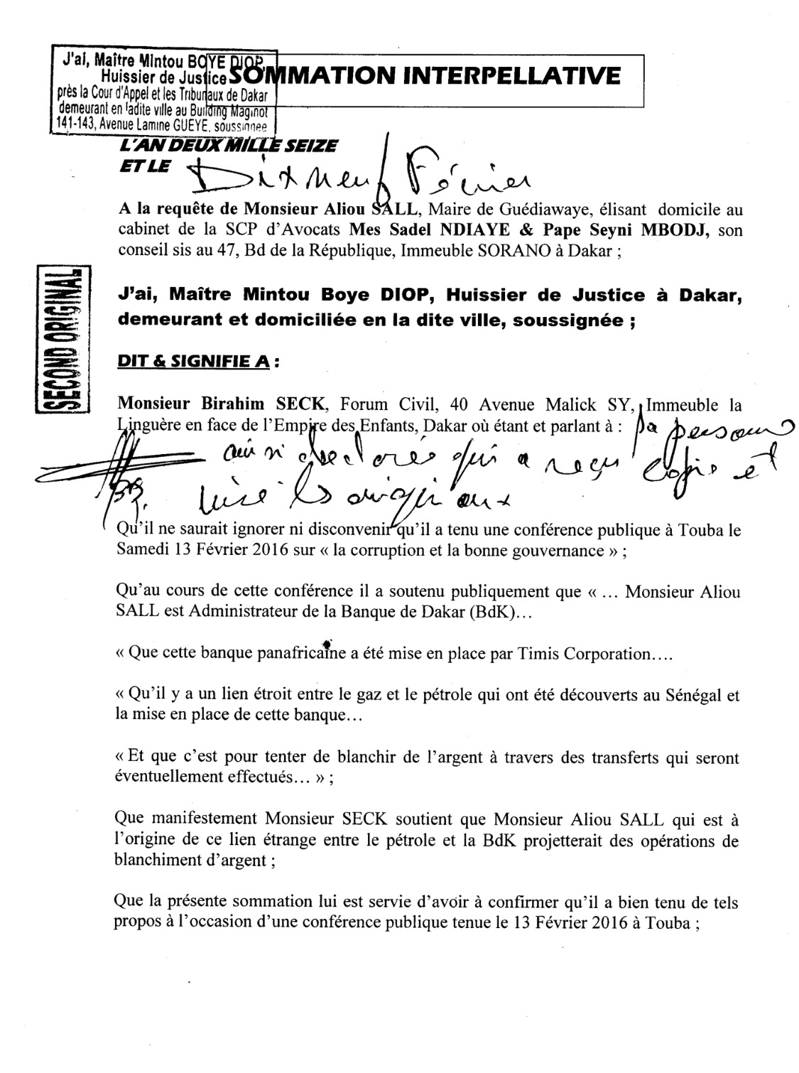 GRAVES ACCUSATIONS CONTRE ALIOU SALL : Birahim Seck a-t-il enclenché sa parade ?