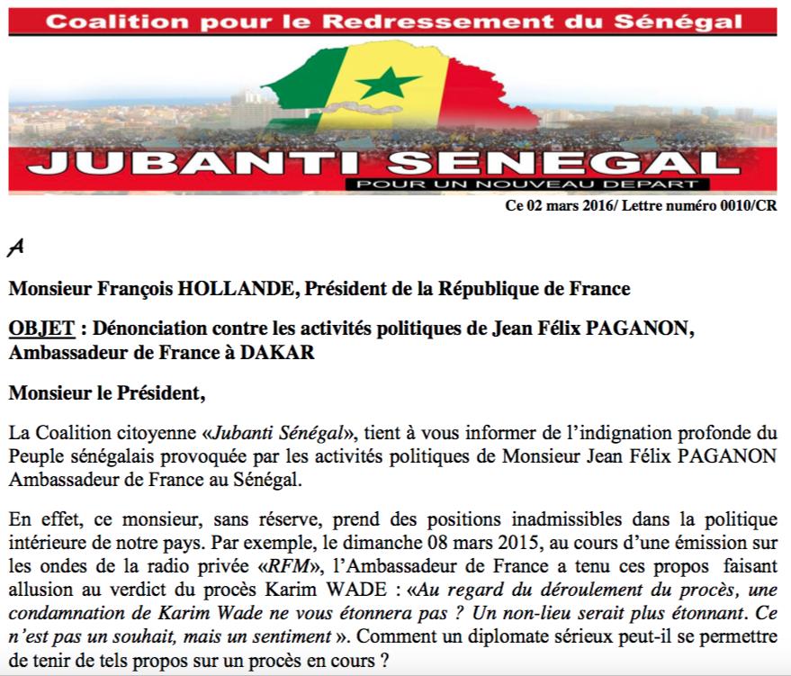 Le courrier envoyé par la Coalition citoyenne «Jubanti Sénégal» à François Hollande