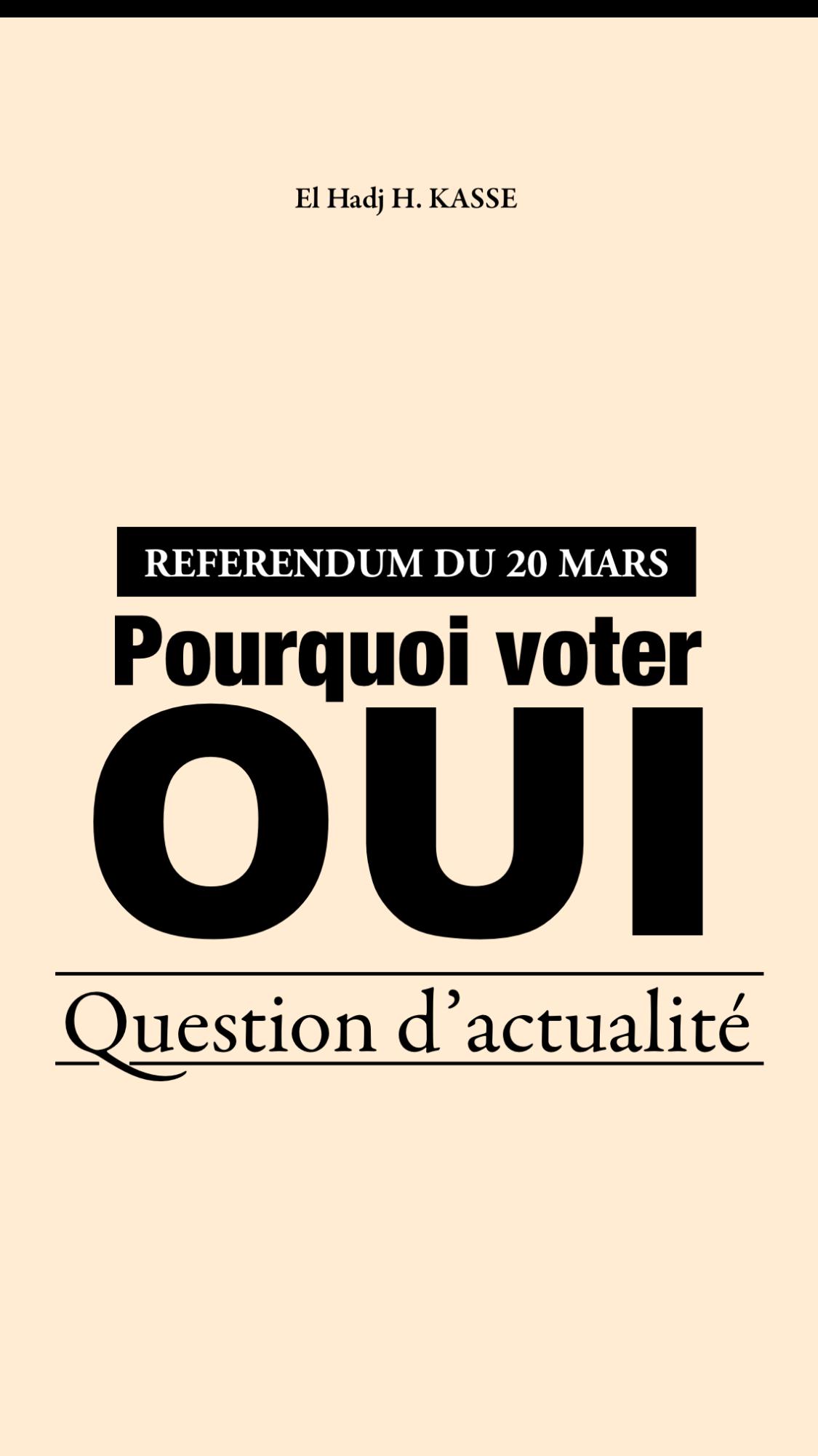 RÉFÉRENDUM DU 20 MARS : Pourquoi voter OUI ?