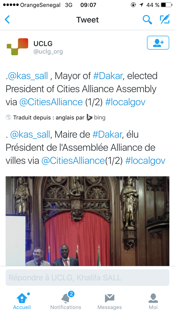 Nomination : Khalifa Sall nommé à la Présidence de l'Assemblée Alliance de villes