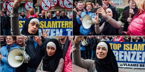 BELGIQUE : Une jeune musulmane se prend en selfie devant une manifestation islamophobe