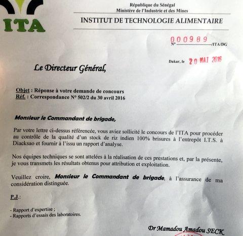 Saisie riz à Thiaroye : L'ITA déclare les échantillons impropres par la prolifération de germes pathogènes