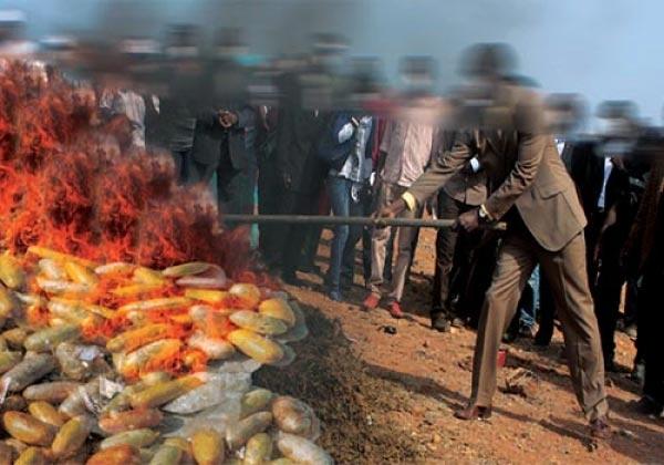 Drogue Cérémonie d'incinération : 7 tonnes en cendres
