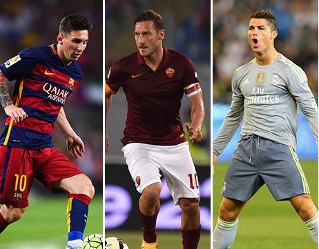 """Totti : """" Messi et Ronaldo viennent d'une autre planète """""""