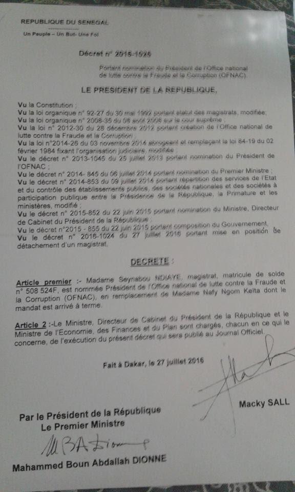 OFNAC/NOMINATION :  Quel décret de nomination faut-il prendre en compte (Par Birahime Seck)