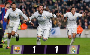 C'est terminé, 1-1 entre le Barça et le Real Madrid grâce à l'égalisation in-extremis de Ramos !