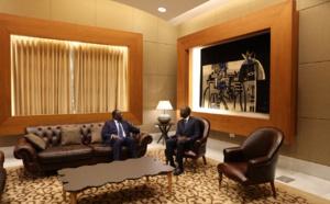 Le Président de la République Macky Sall dans le pavillon présidentiel de l'AIBD avant son départ pour Tokyo