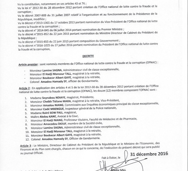 DECRET PORTANT NOMINATION DES MEMBRES DE L'OFNAC (DOCUMENT)