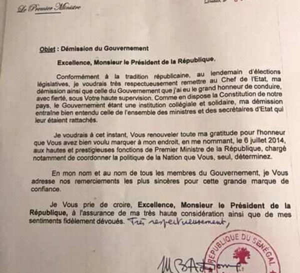 OFFICIEL : La lettre de démission du Gouvernement de Mahammed Boun Abdallah Dionne (DOCUMENT)